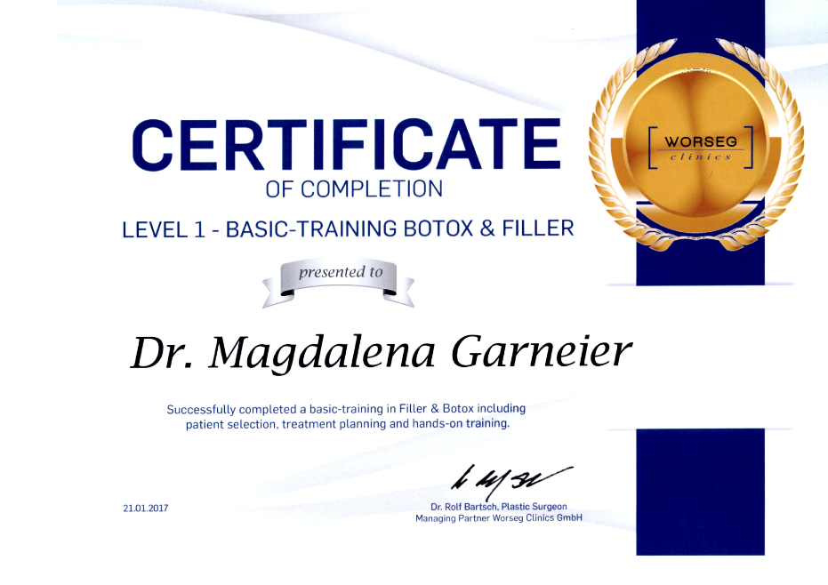 Zertifikat Botox und Filler Level 2