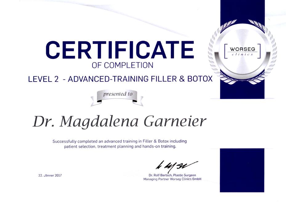 Zertifikat Botox und Filler - Level 1